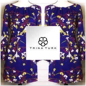 💙Trina Turk Cassis Floral Dress in Cobalt Blue💙